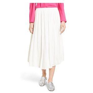 Vince camuto white pleated midi skirt NWT